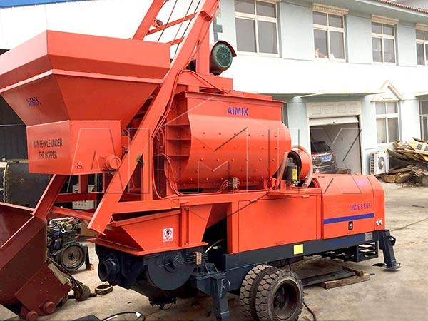Бетономешалка с бетононасосом экспортировалась в Индонезии