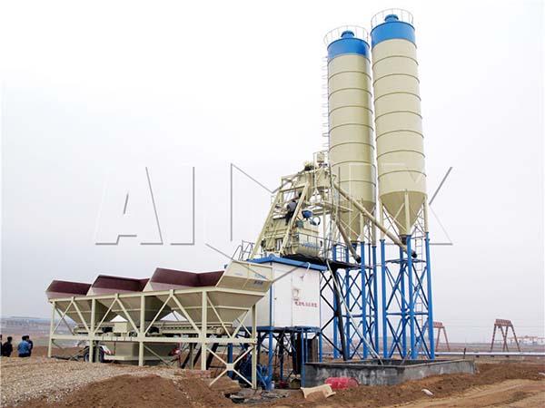 HZS75 бетонный завод с центральным смешиванием