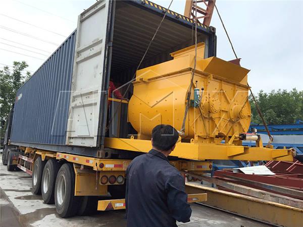 двухвальный бетоносмеситель на транспорте