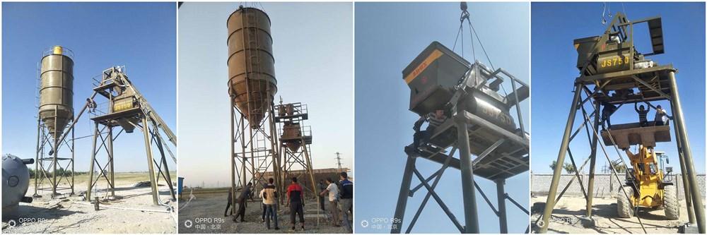 HZS35 бетонный завод успешно установил в Узбекистане