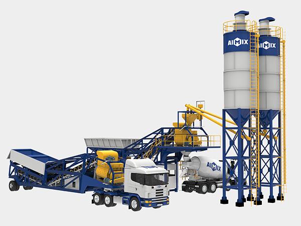 Мобильный бетонный завод на шасси китая