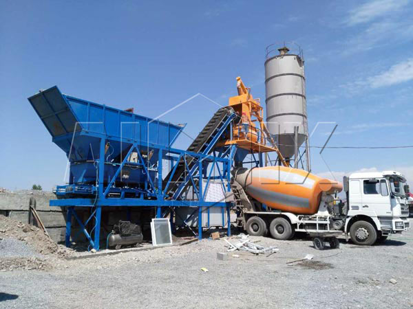 Мини мобильный бетонный завод 25 м3/ч