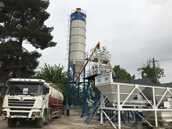 Стационарный бетонный завод 50 м3/ч в Таджикистане